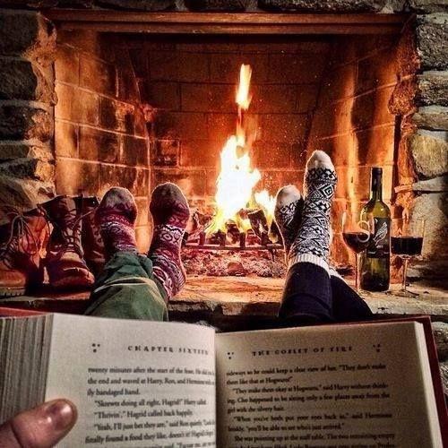 christmas, fire, book