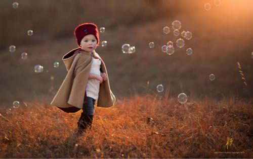 cute, kid, nature, bubbles