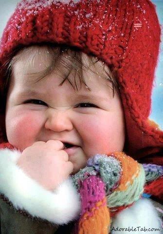Baby blushing