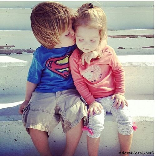 adorable, kids, kiss, couple, love, cute » AdorableTab.com