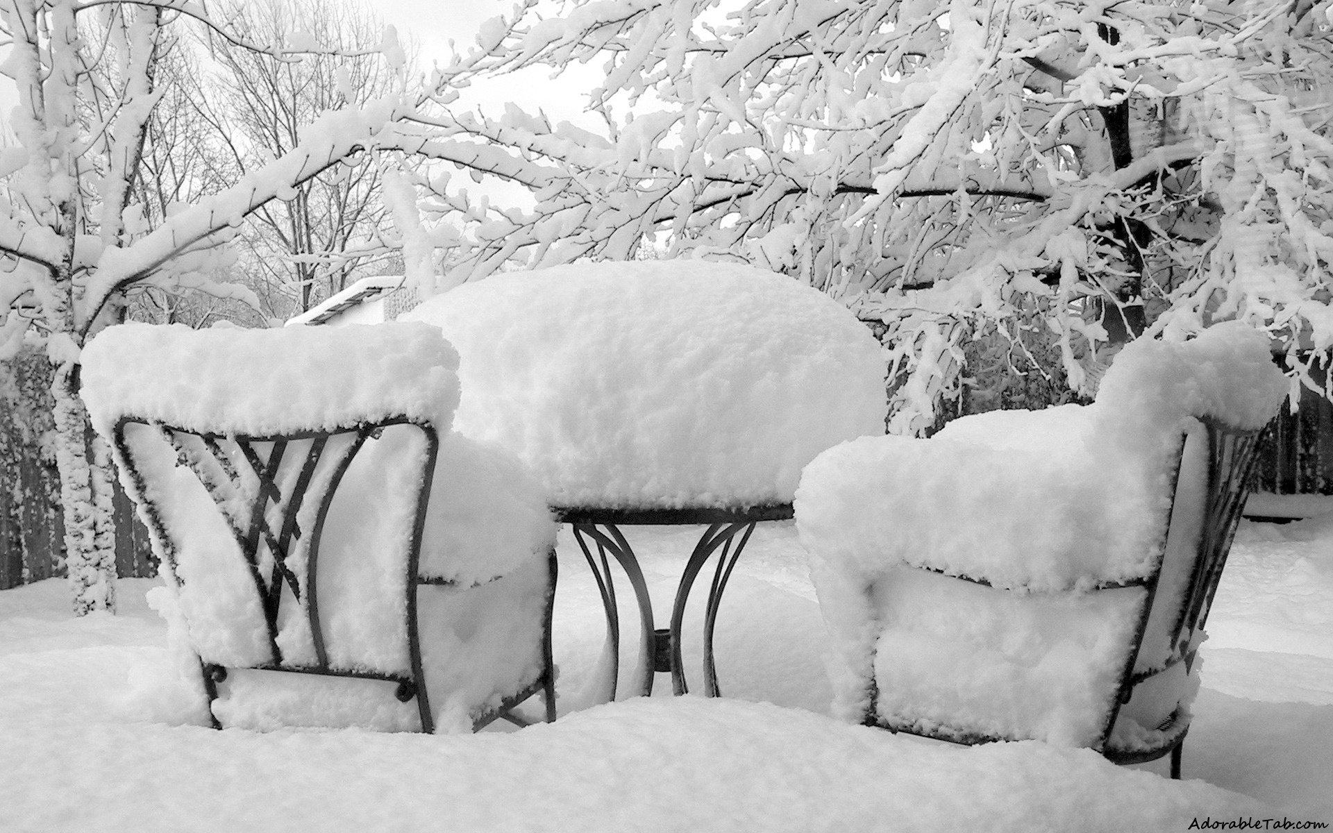 winter, ice, chairs, pair