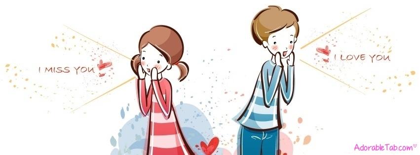 Cute Love Cartoon Facebook Cover