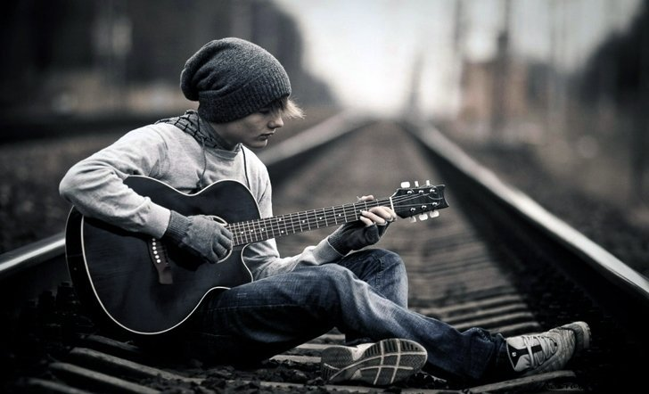 alone, boy, with, guitar, railway, track » AdorableTab.com