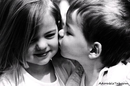 cute, kiss, child, chi...